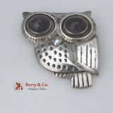 .Owl Pin William Spratling Early Mark Amethyst Eyes Sterling Silver 1940