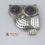 .Owl Pin William Spratling Early Mark Amethyst Eyes Sterling Silver 1940