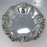 .Wild Rose Serving Bowl Open Work Sterling Silver 1900