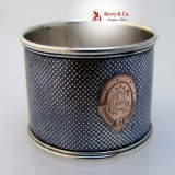 .Niello Napkin Ring Checkerboard Pattern Gold Inlay 1900 Monogram AC