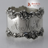 .Rose Napkin Ring Shreve Sterling Silver 1900 Monogram AMK