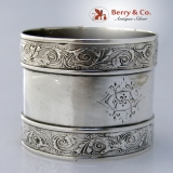 .Arabesque Napkin Ring Coin Silver 1870 Monogram HC