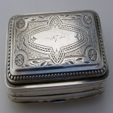 . Snuff Box Sterling Silver Albert Coles 1874 Joseph and Dinah Stern