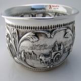 .Repousse Landscape Baby Bowl Dutch Silver 1908