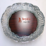 .Floral Scroll Open Work Tray 833 Silver Mahogany 1920