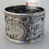 .Architectural Coin Silver Napkin Ring 1860