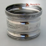 .Sister M. Cyril Napkin Ring Aesthetic Engraved Sterling Silver 1885