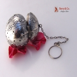 .Figural Tea Ball North Wind Faces Webster Sterling Silver 1910