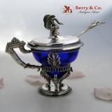 .German Mustard Pot Figural Swan Cobalt Glass Insert 1860 800 Silver