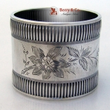 . Engraved Floral Napkin Ring Towle Coin Silver 1875 No Monogram