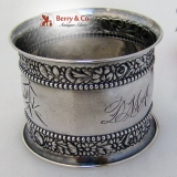 .Floral Beaded Repousse Napkin Ring Gorham 1888 Sterling Silvere Monogram DMA