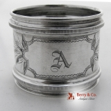 .Engraved Coin Silver Napkin Ring Wood And Hughes 1870