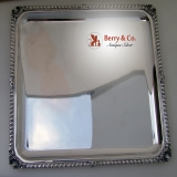 .Gadroon Shell Square Tray Calderoni 800 Italian Silver 1960