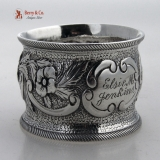 .Coin Silver Napkin Ring Floral Repousse 1870