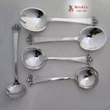 .Andersen Crown Arts and Crafts Serving Set 6 Hand Made Sterling Silver 1945