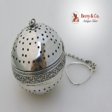 .Open Work Fleur-de-Lis Large Tea Ball Sterling Silver 1900