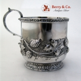 .Raspberry Repousse Cup R W Wilson Coin Silver 1835 Monogram EL