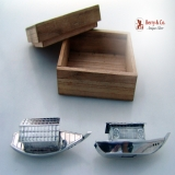 .Japanese Figural Boat 950 Sterling Silver Salt And Pepper Shakers