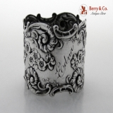 .Floral Scroll Shell Napkin Ring Repousse Whiting Stereling Silver 1890 Edna