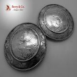 .Cloak Buttons Crowned Horseman Medallion Dutch 833 Standard Silver 1890