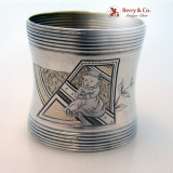 .Baby Engraved Napkin Ring Coin Silver 1880