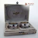 .French Sterling Silver Pair Beaded Boxed Napkin Rings