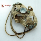. Antique 14K Gold Brooch White Yellow Paste Stones 1850
