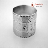 .Engine Turned Napkin Ring Coin Silver Monogram OFC 1870