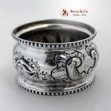 .Architecural Napkin Ring Beaded Coin Silver 1860 Monogram MEJ