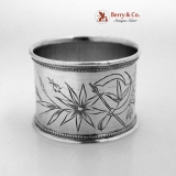 . Russian Crossed Sickles Engraved Napkin Ring 84 Standard Silver 1895