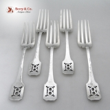 .Norman Hammered Set of 5 Forks Shreve And Co Sterling Silver 1909