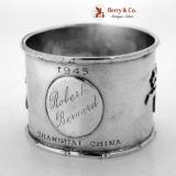 . Chinese Export Silver Napkin Ring Bamboo Shanghai 1945 Robert Bernard