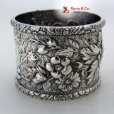 . Repousse Coin Silver Allover Floral Napkin Ring 1880 Monogram CBI
