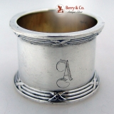. Ribbon and Thread Napkin Ring La Pierre 1900 Sterling Silver Monogram A
