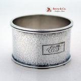 .Hammered Arts and Crafts Napkin Ring Sterling Silver 1920 Monogram EG
