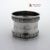 .Gorham Floral Border Napkin Ring Sterling Silver 1890