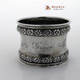 .Gorham Floral Border Napkin Ring Sterling Silver 1890