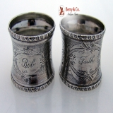 . Engine Turned Engraved Beaded Rope Border Napkin Rings Pair Coin Silver 1860 Bob Faith