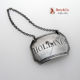 .Georgian Silver Hollands Bottle Tag, Liquor Ticket Birmingham 1807
