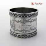 .Ornate Napkin Rings Pair Coin Silver Dec 25th 1874 Fannie George
