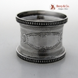 .Engine Turned Engraved Beaded Border Napkin Rings Pair Coin Silver 1860