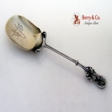 .Figural Running Fox Serving Spoon Coin Silver 1870
