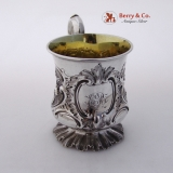 .Child′s Mug Repousse Floral William Ker Reid Newcastle Sterling Silver 1851