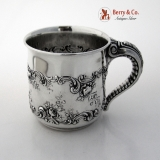 .Rose and Scroll Child′s Mug Elephant Trunk Handle Gorham Sterling Silver 1900