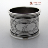 . Engraved Beaded Border Napkin Ring Coin Silver 1875 Monogram F