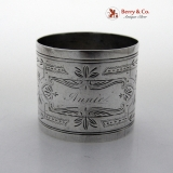 .Engraved Foliate Napkin Ring Coin Silver 1880 Annie