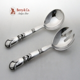 .Georg Jensen Salad Serving Set Pattern 57 Sterling Silver Old Pre War Mark