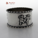 . Dancing Cherubs Napkin Ring Colonnade Rims Sterling Silver 1900 Dewitt