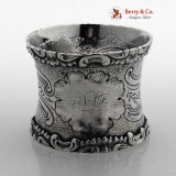 . Baroque Scoll Shell Napkin Ring Coin Silver 1860 Monogram NAF