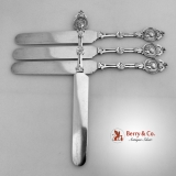 .Medallion Schulz And Fischer Set of 4 Flat Knives Sterling Silver 1870